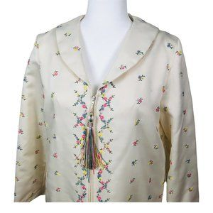 Vintage 70s Zip Front Robe Ivory Floral Embroidered House Coat Small
